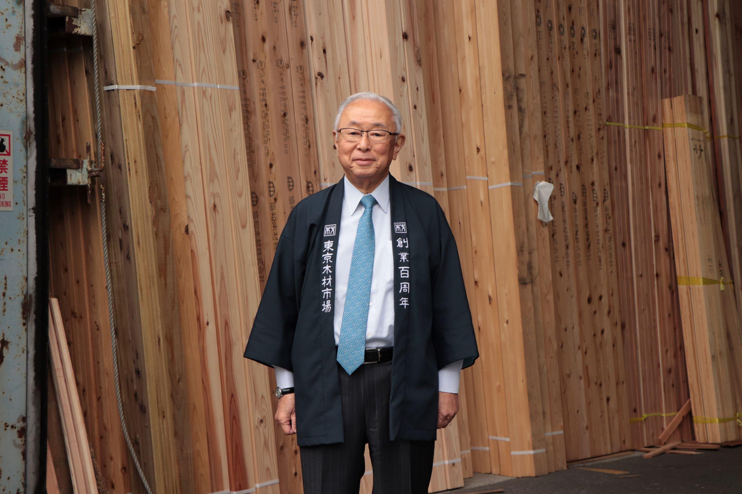 """[江東這個市鎮那個人]江戶川木材工業株式會社會長市川英治""""東京木材市場""""的總經理擔當的市川。"""